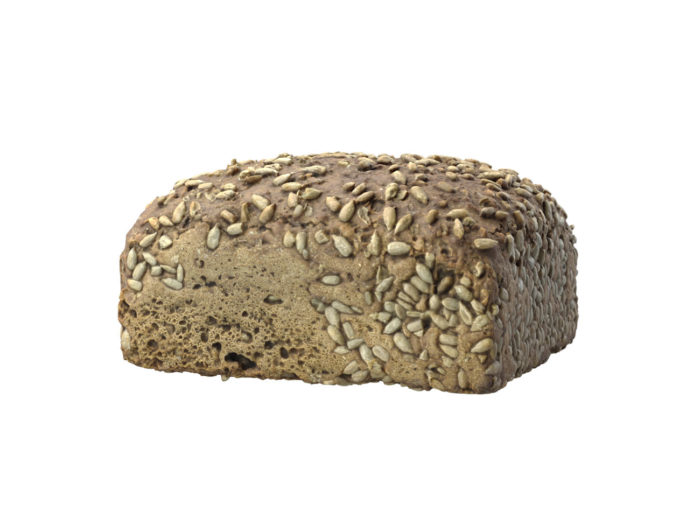 perspective view rendering of a sunflower seed bread 3d model
