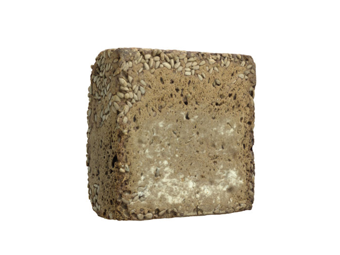 back view rendering of a sunflower seed bread 3d model