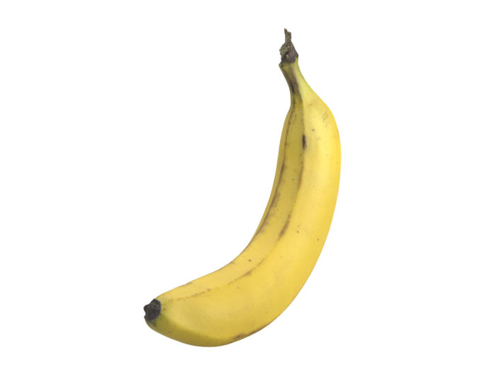 perspective view rendering of a banana 3d model