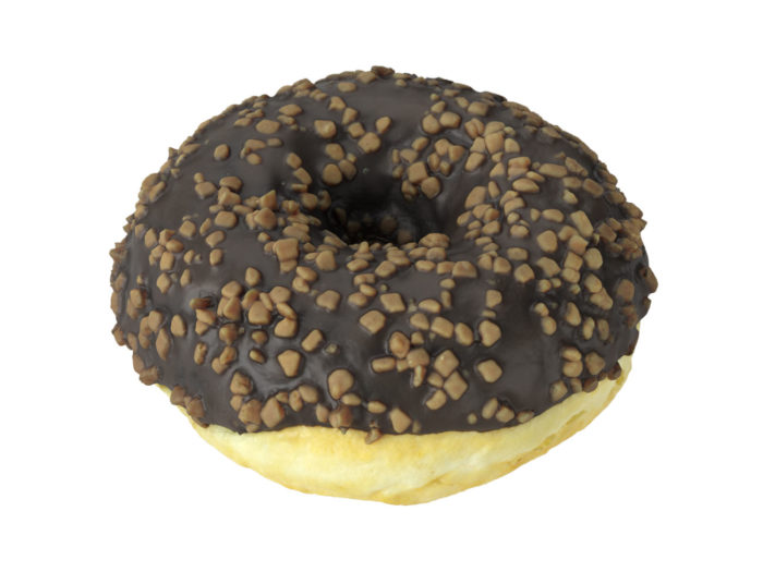 perspective view rendering of a chocolate donut 3d model