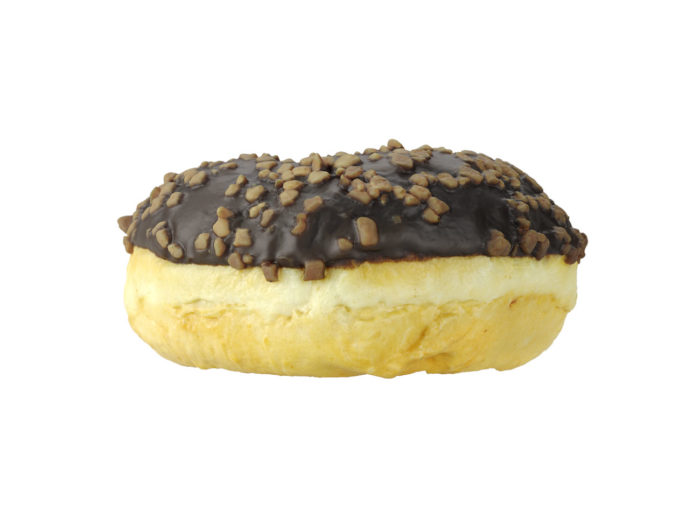 side view rendering of a chocolate donut 3d model