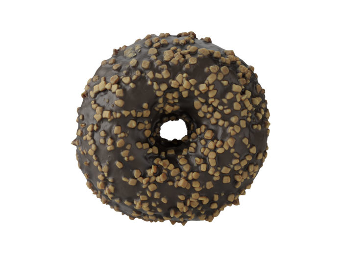 top view rendering of a chocolate donut 3d model