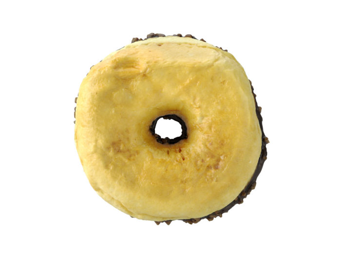 bottom view rendering of a chocolate donut 3d model