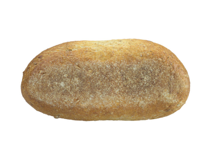 bottom view rendering of a french bread roll 3d model