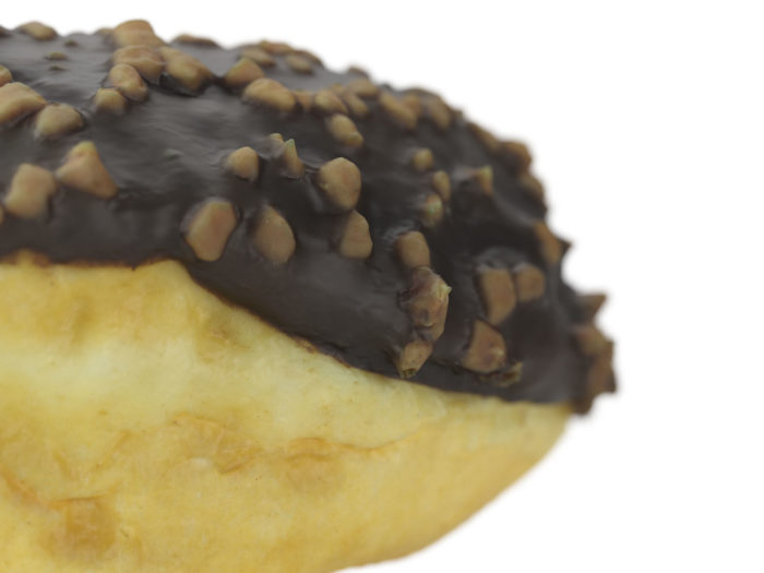 close up rendering of a chocolate donut 3d model