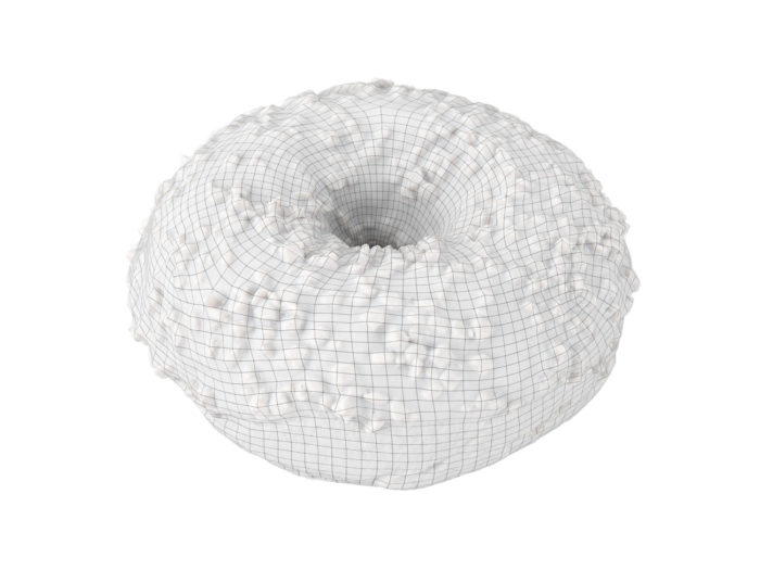 wireframe rendering of a chocolate donut 3d model