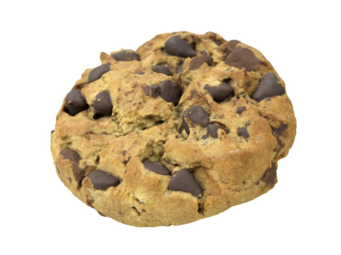 perspective view rendering of a chocolate chip 3d model