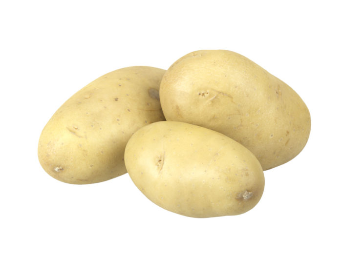 perspective view rendering of a set of three different potato 3d models