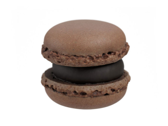 side view rendering of a chocolate macaron 3d model