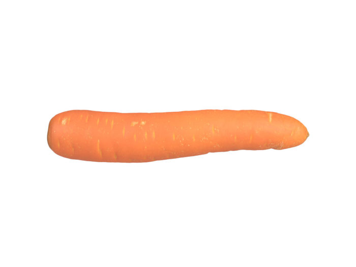 side view rendering of a carrot 3d model