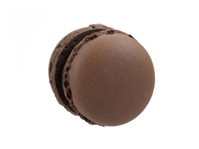 top view rendering of a chocolate macaron 3d model