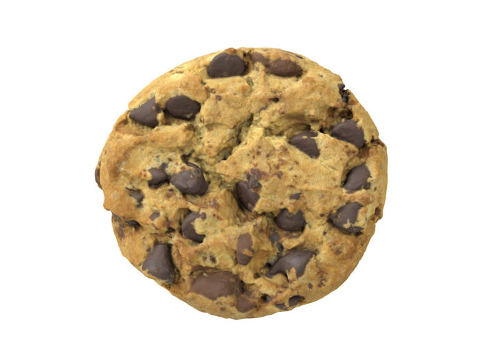 top view rendering of a chocolate chip 3d model