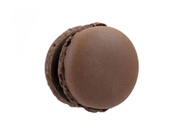 bottom view rendering of a chocolate macaron 3d model