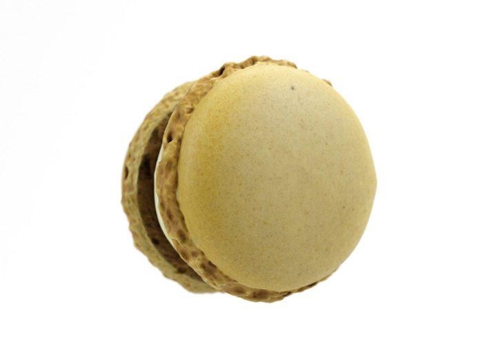 bottom view rendering of a lemon macaron 3d model