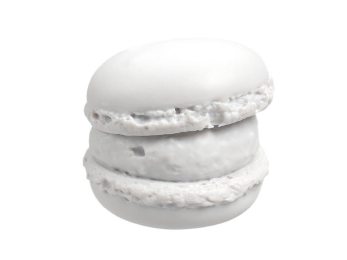 clay rendering of a macaron 3d model