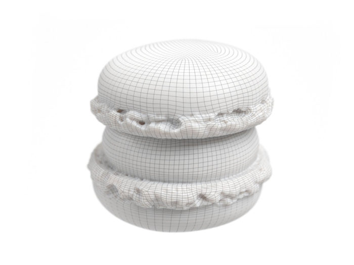 wireframe rendering of a chocolate macaron 3d model