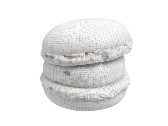 wireframe rendering of a macaron 3d model