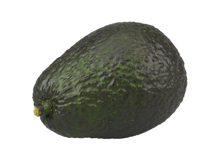 perspective view rendering of an avocado 3d model