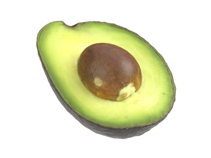 perspective view rendering of an avocado half 3d model