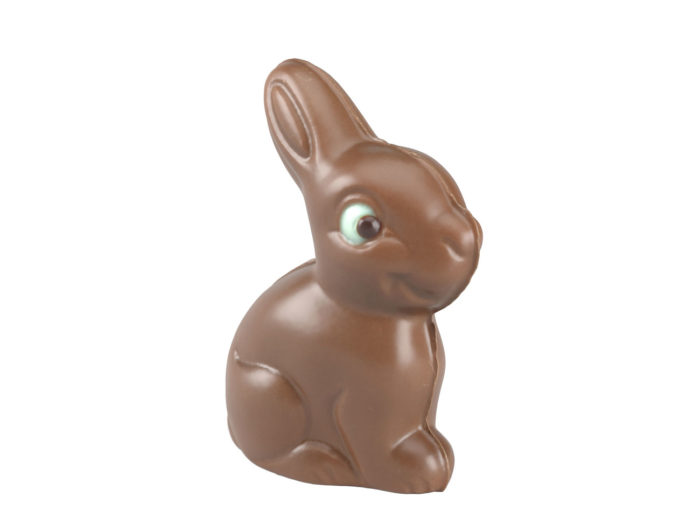 perspective view rendering of a chocolate easter bunny 3d model