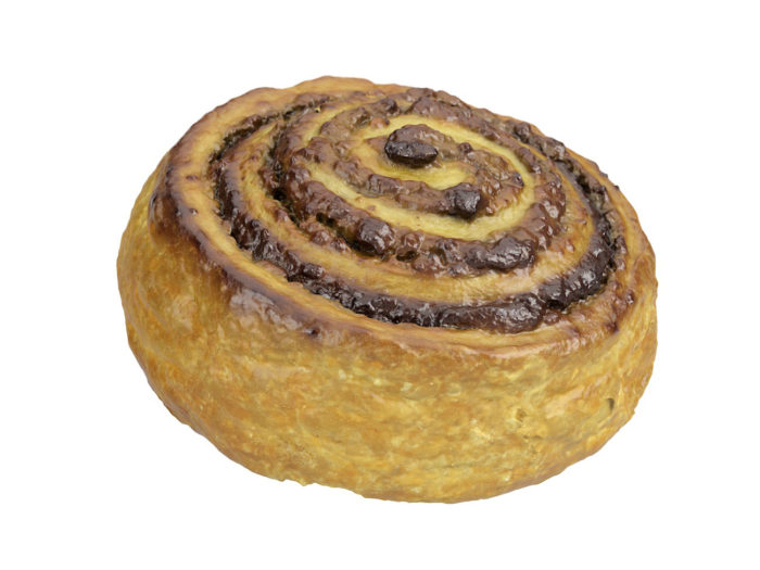perspective view rendering of a cinnamon roll 3d model