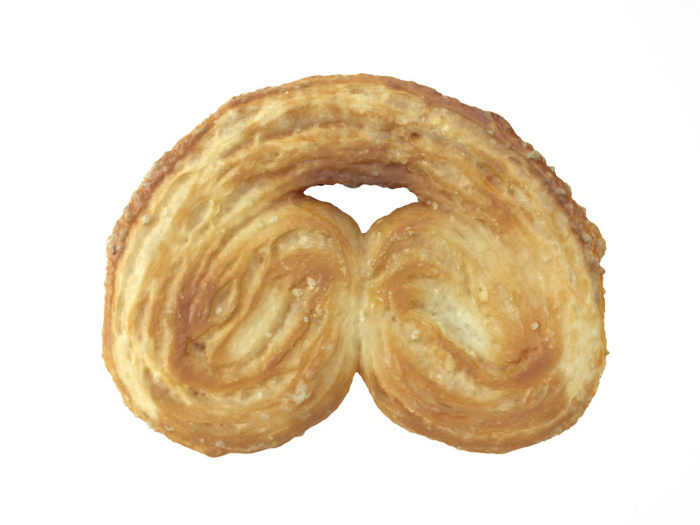 bottom view rendering of a palmier biscuit 3d model
