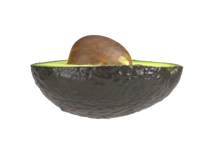 side view rendering of an avocado half 3d model