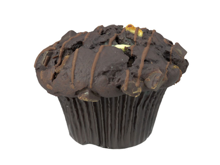 perspective view rendering of a triple chocolate muffin 3d model