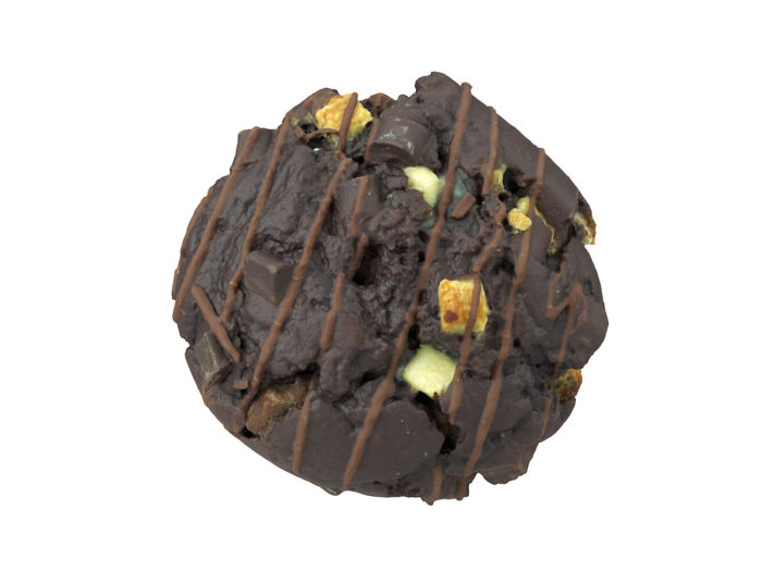 top view rendering of a triple chocolate muffin 3d model