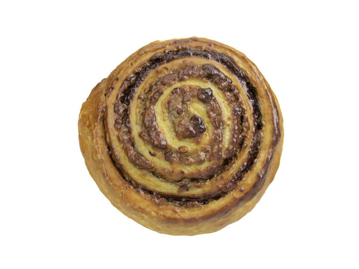 top view rendering of a cinnamon roll 3d model