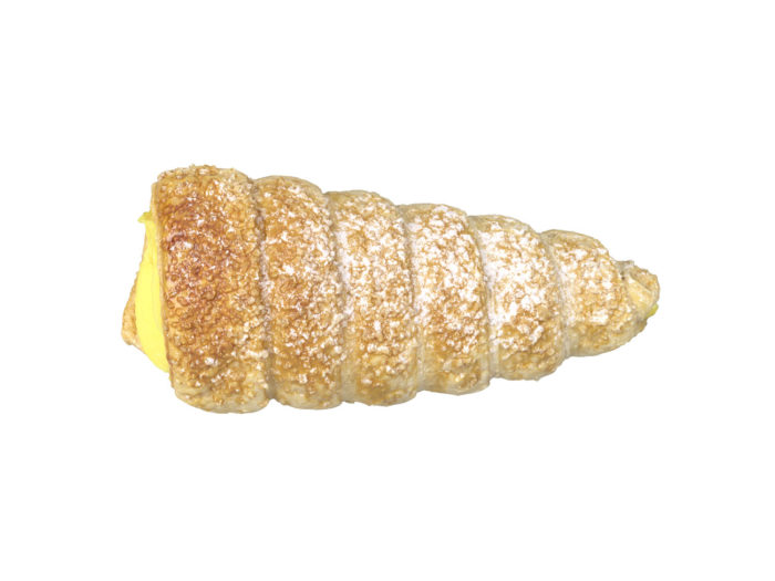 top view rendering of a cream horn 3d model