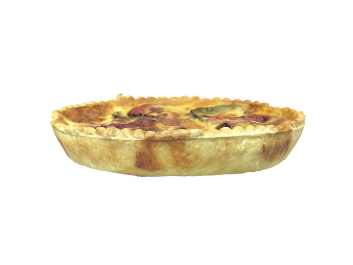 side view rendering of a tomato zucchini quiche 3d model