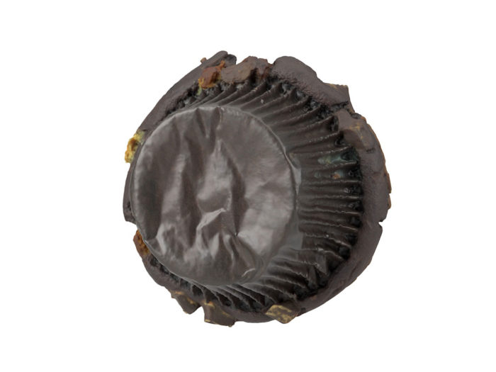 bottom view rendering of a triple chocolate muffin 3d model