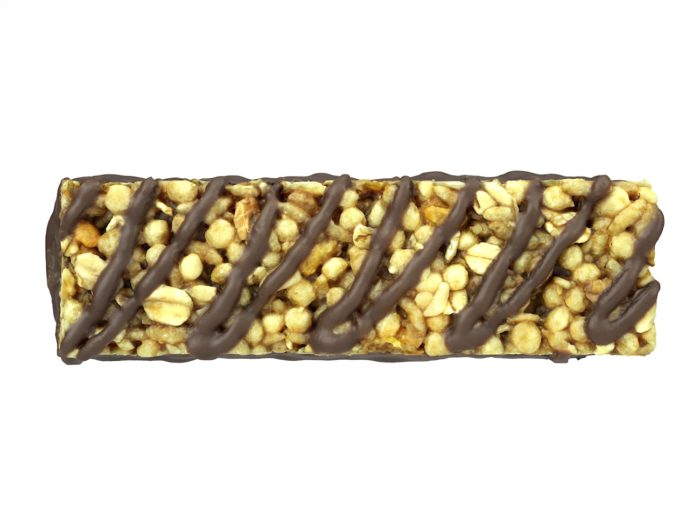 top view rendering of a chocolate granola bar 3d model