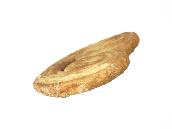 perspective view rendering of a palmier biscuit 3d model