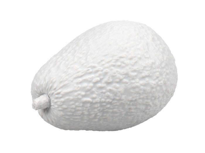 clay rendering of an avocado 3d model