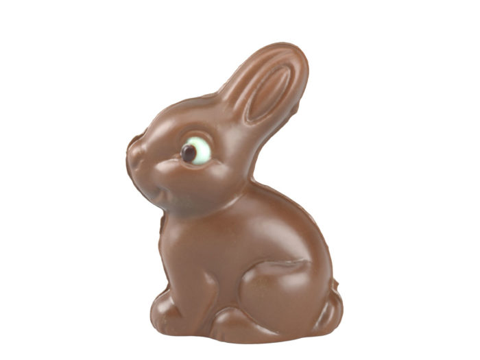 side view rendering of a chocolate easter bunny 3d model