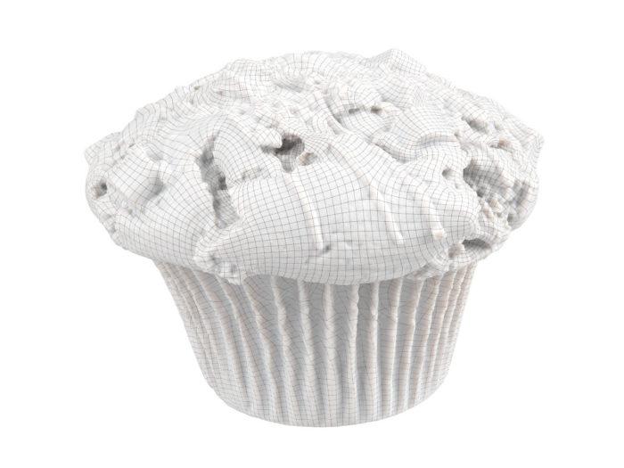 wireframe rendering of a triple chocolate muffin 3d model
