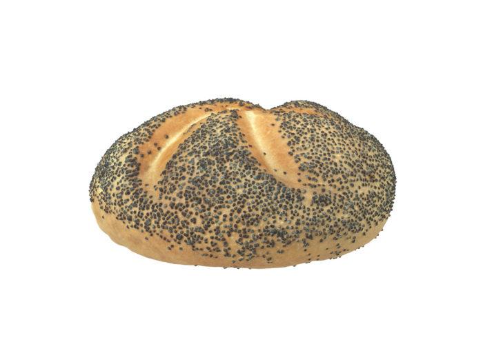 side view rendering of a poppy seed bread roll 3d model