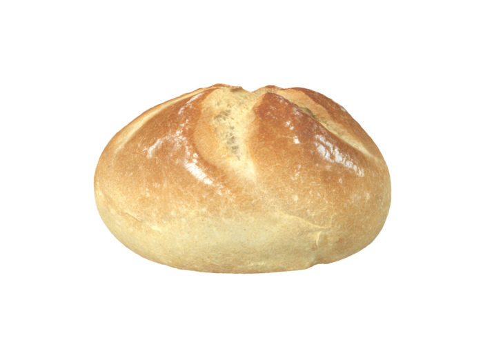 side view rendering of a semmel bread roll 3d model