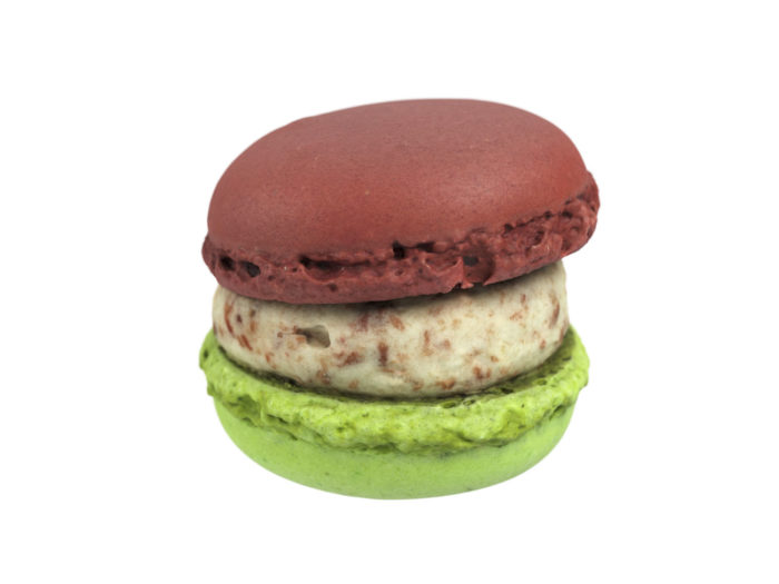 front view rendering of a strawberry rhubarb macaron 3d model