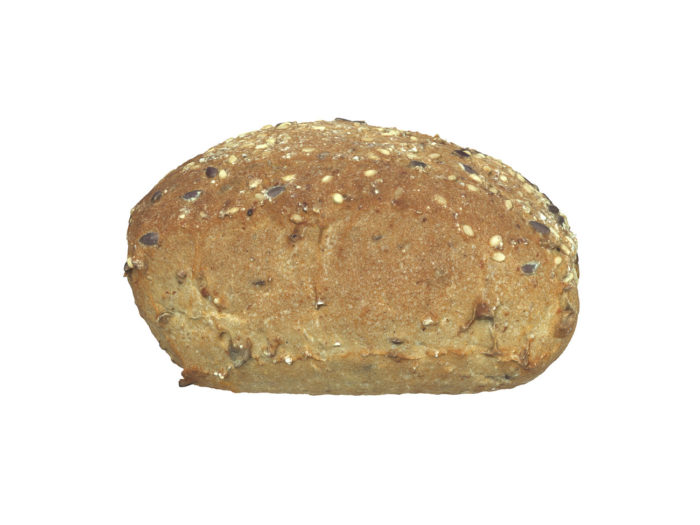 side view rendering of a seeded bread roll 3d model