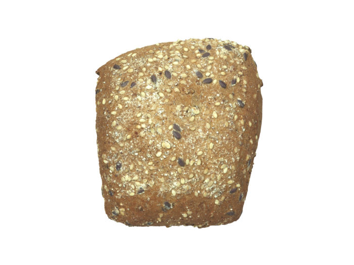 top view rendering of a seeded bread roll 3d model