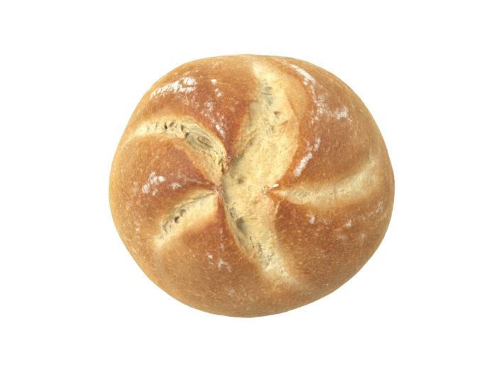 top view rendering of a semmel bread roll 3d model