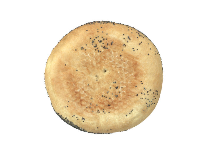 bottom view rendering of a poppy seed bread roll 3d model