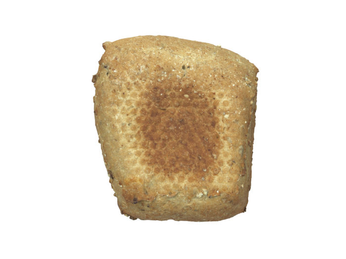 bottom view rendering of a seeded bread roll 3d model