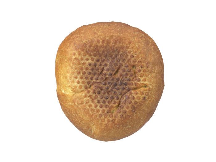 bottom view rendering of a semmel bread roll 3d model