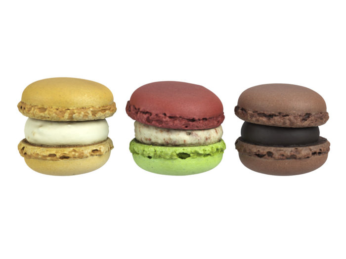 front view rendering of a set of three different macaron 3d models