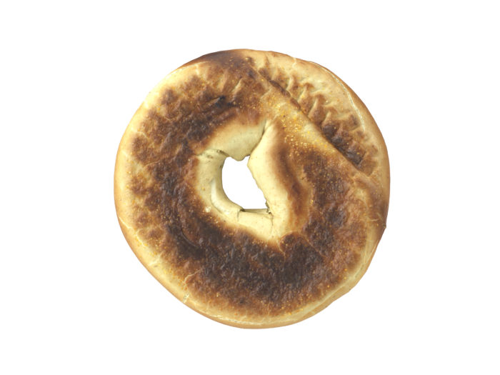 bottom view rendering of a bagel 3d model
