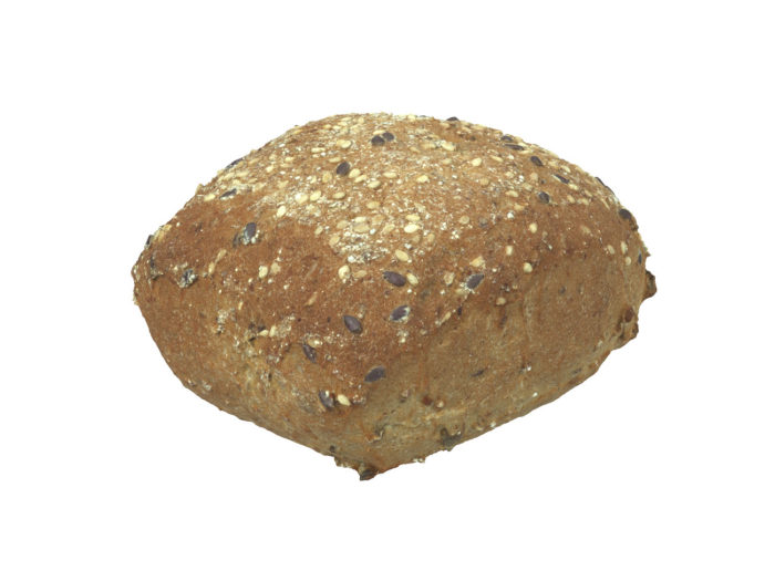 perspective view rendering of a seeded bread roll 3d model